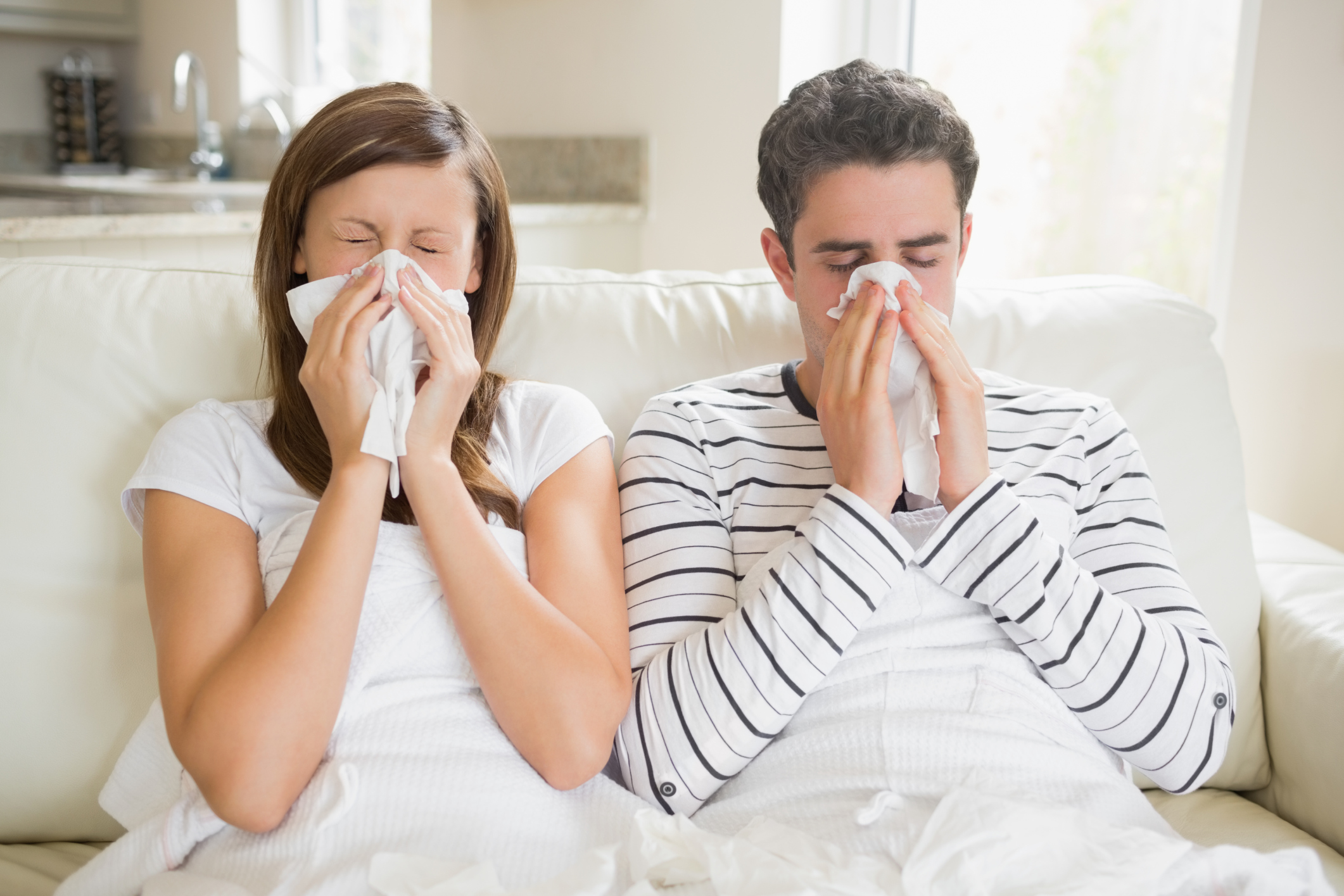 Woman and man getting ill